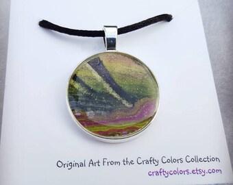Mini Painting Pendant Original Abstract Art Wearable Art Necklace 3371