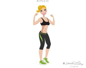 Athlete Clip Art Logo | Design Illustration Graphic Avatar Web Design Portrait | Cross Fit | Logo for Athleisure Blog Health Coach