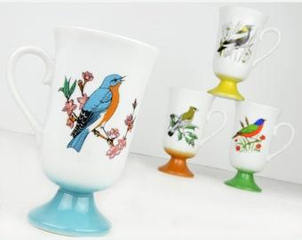 mugs, coffee mugs, coffee cups, pedestal, Fred Roberts, Japan, set of 4, birds, bluebird, cedar waxwing, robin, retro, vintage kitchen