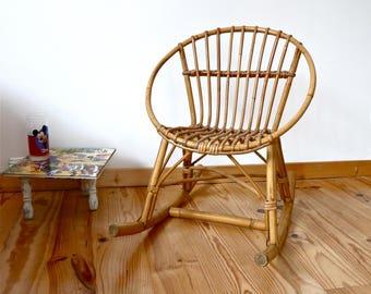 Rattan Rocking-chair for Children - Mid-century Child's Chair - 1960 - Children's Rocking-chair