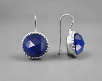 Sapphire Silver Drop Earring, Large Stone Earring, September Birthday Gift For Her, Statement Earring, Blue Earring, Silver Earring Handmade