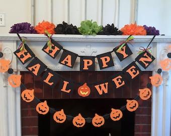 Halloween decorations, Happy Halloween Banner, Halloween Mantle Decorations, Halloween Party Decorations, Halloween Garland