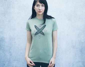 Two Feathers Sage Green Heathered T-Shirt