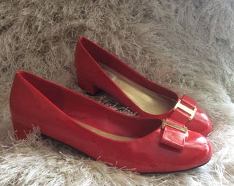 Red Pattened Leather Vintage Shoes with chunky heel