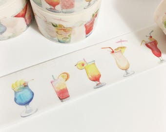 Watercolor Cocktails Colorful Drinks Summer Fun Washi Tape 5.5 yards 5 meters 20mm