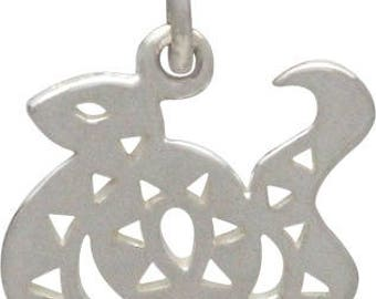 Chinese Zodiac Snake Charm -16mm, Sterling Silver