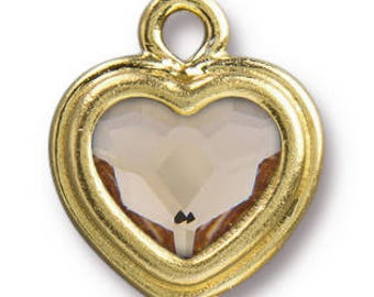 Stepped Bezel Light Silk Heart, Gold Plate -14mm