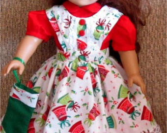 "Red Green White Christmas Bells Print Dress Apron Stocking 3 Piece Set Fits American Girl Dolls or Similar 18"" Dolls"