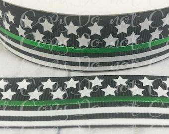 """7/8"""", Stars and Stripes Ribbon, US Designer Ribbon, Stars Ribbon, Military Ribbon, Black Ribbon, Wholesale Ribbon"""