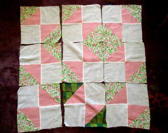 9 Vintage Quilt Blocks Pink and Green