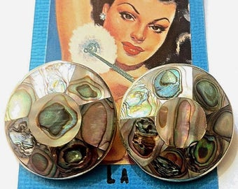 Taxco 1950s Clip-On Earrings - Sterling Silver & Aurora Borealis Abalone Pearl Shell - Signed - Perfect