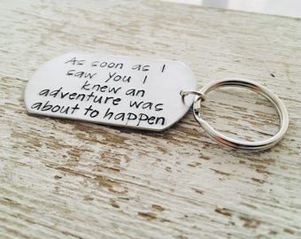 Key chain winnie the pooh quote, winnie the pooh, As soon as I saw you I knew an adventure was about to happen, winnie the pooh quotes