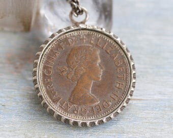 1967 Coin Necklace - Elizabeth II One Penny Pendant on Long Chain