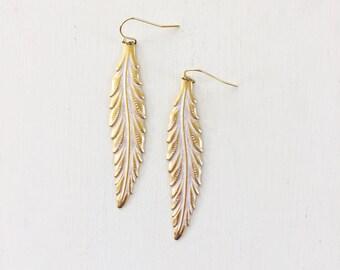 Long Leaf Earrings II Leaf Earrings, Patina Earrings, Brass Earrings, Long Earrings, Boho Earrings, Bohemian Earrings