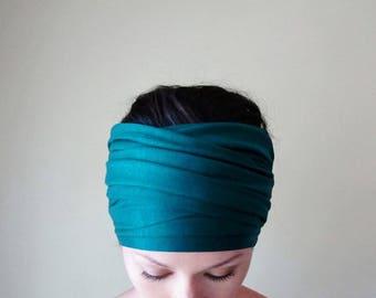 DARK TURQUOISE Head Scarf - Bohemian Headband - Deep Aqua Blue Hair Wrap - Non Slip Jersey Headband - Yoga Headband - Boho Hair Accessories