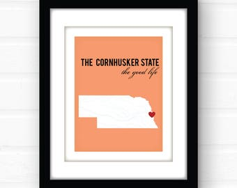 Nebraska art print | Nebraska wall art | custom map art | Lincoln Nebraska | Omaha Nebraska | Kearney Nebraska | state map art print