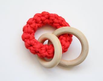 Red Fabric Yarn Crochet Maple Wood Triple Teether / Teething Ring Toy / Rattle