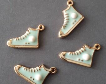 8pcs-gold tone sport shoe charm-blue enamel shoe Charm
