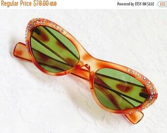 ON SALE Vintage Cateye Faux Tortoiseshell Rhinestone Sunglasses Italy 1950s Italian
