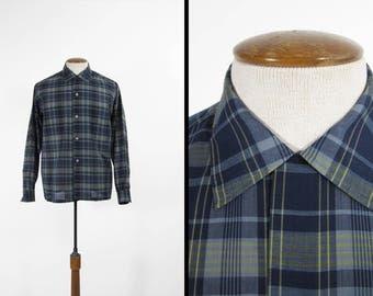 Vintage 70s Button Plaid Shirt Blue Loop Collar Long Sleeve Tartan - Medium
