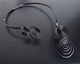 Black Necklace, Aluminium wire necklace, Collar Necklace, Statement Necklace, Wire Necklace, Unique Necklace