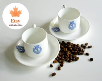 Vintage Royal Canadian Navy, Espresso, Demitasse, Cup and Saucer, Coffee Cups, Strong Coffee, Blueware, Blue White, Canadiana, EtsyCA150+