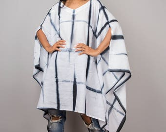 Poncho, tie dye poncho, women poncho, hand dyed shibori poncho, black and white poncho : Nature Touch Collection