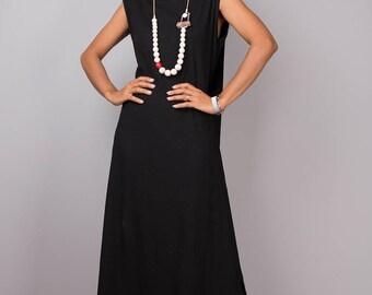 Black dress, halter dress, a line dress, maxi dress, sleeveless dress, long black dress, summer dress, tube dress