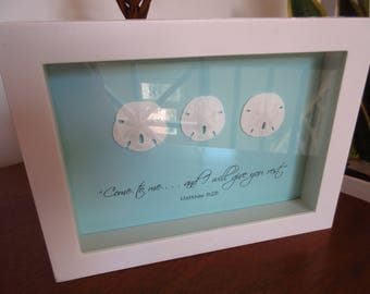 Coastal WORD Art with Sand Dollar Shells and Bible Verse Aqua Blue and White - Come to Me
