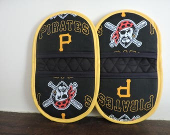 Mini Microwave Mitts-Oven Mitts-Pinchers-Pittsburgh Pirates w/ Yellow Trim-Free Shipping