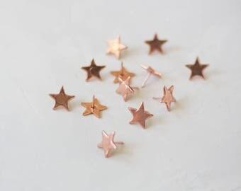 Star Rose Gold Metal Thumb Tacks - 12 pc