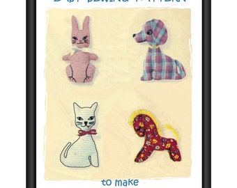 Instant Download PDF Easy Full Size Printable Sewing Pattern to make Pet Animals Cat Dog Rabbit Horse Pony Fabric Baby Cot Toy Bean Bag