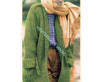 Instant Download PDF Easy Quick KNITTING PATTERN  to make a Ribbed Thigh Length Coat Womens Jacket 4 Sizes 34 to 40 inch Bust Chunky Yarn