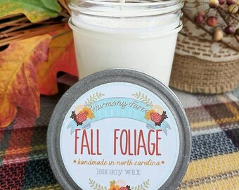 Fall Foliage Soy Wax Candle in 8 oz. Jelly Jar - Fall Candle for Home, Gift, Housewarming, Hostess, Birthday, Present