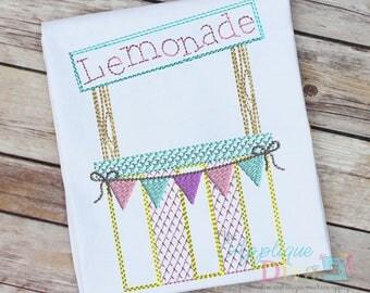 Vintage Stitch Sketch Lemonade Stand Digital Machine Embroidery Design
