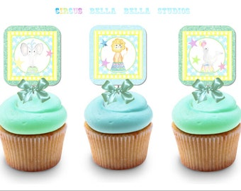 CIRCUS Cupcake TOPPERS ~ Printable Instant Download