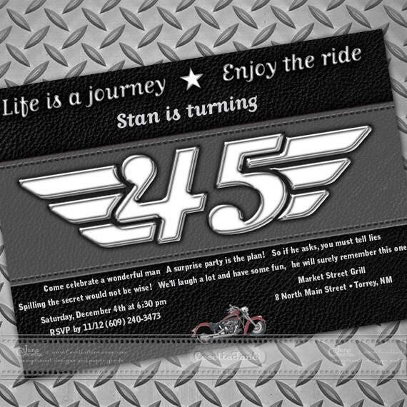birthday party invitations, Harley birthday party, retirement party invitations, Harley Davidson retirement party invitations, IN657