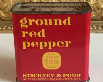 Vintage Sticky and Poor Ground Red Pepper Spice Tin