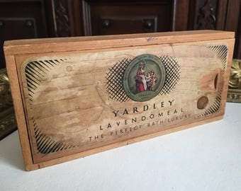 Vintage Yardley Lavendomeal (Advertisement) Wooden Slide Top Box