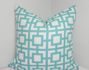 SPRING FORWARD SALE Ocean Blue Cats Cradle Geometric Print Pillow Cover Decorative Throw Pillow Covers All Sizes