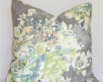 SPRING FORWARD SALE As Seen on The Bachelor Grey Sage Green Blue Ivory Floral Pillow Cover Decorative Home Decor Size 20x20 22x22
