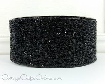"Halloween Wired Ribbon, 2 1/2"" wide, Black Glittered Net - THREE YARDS - Offray ""Glitter Time"" Wire Edged Ribbon"