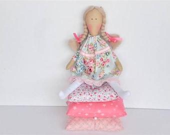 Rag doll Princess and the Pea cloth doll fairy tale princess fabric doll pink blonde handmade stuffed doll play set nursery decor