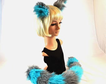Cheshire Cat Ear Tail Clip On Combo in Faux Fur Blue and Gray