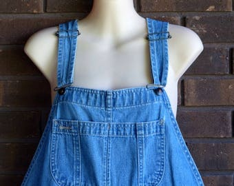 Lands End Overalls Bib Overalls 90s Denim Women Lands End Jeans Grunge Pants Baggy Long Jean Blue Dungarees Coveralls Hipster Vintage Medium