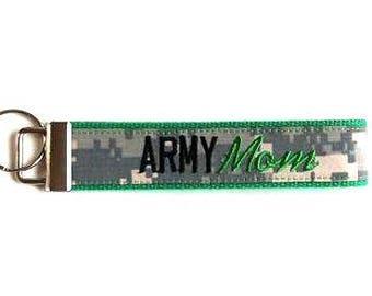Green ARMY MOM Custom Nametape Key Fob