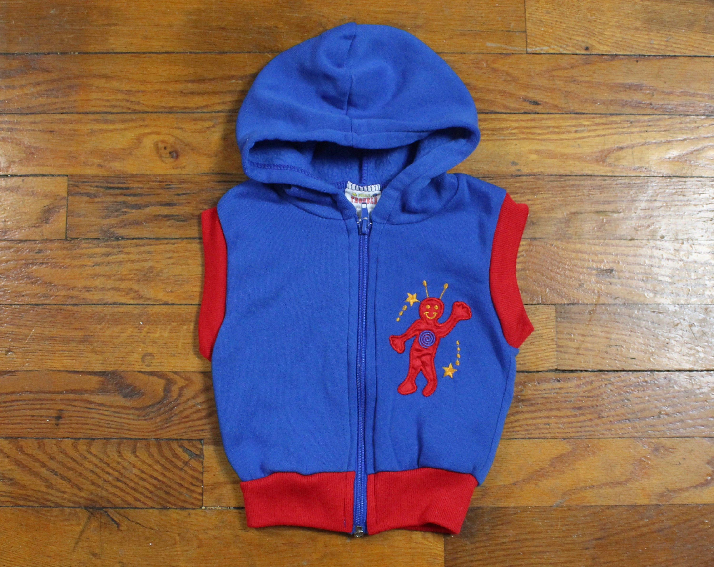 Vintage 1980s Baby Boy Vest Blue Red Alien Embroidered Robot