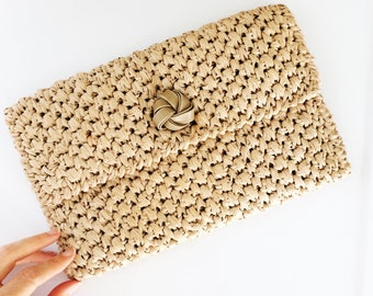 60s Rafia Clutch // Woven Purse // Natural Taupe Evening Bag