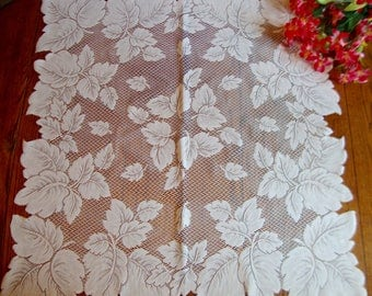 White Lace Tablecloth Vintage Table Topper Leaves Table Cover