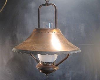 Vintage Hanging Copper Lantern Swag Lamp